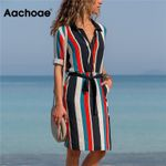 Striped A-line Print Boho Beach Dresses