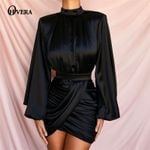 Puff Sleeve Black Ladies Nightclub Wear Long Sleeve Dress