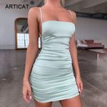 Articat Spaghetti Strap Mini Satin Dress