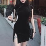 skinny mini streetwear sexy vintage slim black dress