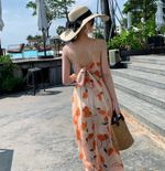 Split Floral Print Long Spaghetti Strap Party Dresses