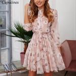 Boho Floral Print Bow Tie Neck Chiffon Dress