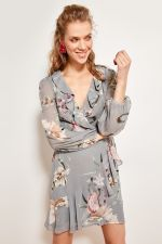 Trendyol Floral Patterned Dress Gray-breasted