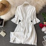 Bohemian Hippie Boho White Dress