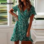 Sexy V Neck Floral Print Boho Beach Dress