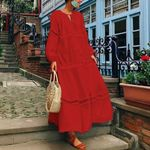 V Neck Hollow Long Lantern Sleeve Casual Dress