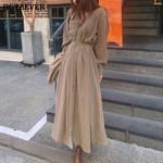 V-neck Single-breasted Female Long Dress