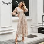 Elegant mesh long sleeve sequin night dress