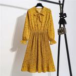 Vintage Dot Floral long sleeve V neck Pleated office dresses