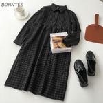 Casual A-Line High-quality High Waist Button Dress