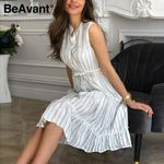 Striped Midi Elegant Sleeveless Work Wear Dresses