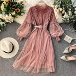 Lace Pink Party Elegant Long Lantern Sleeve Gothic Dress