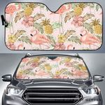 Artsyhomes [Car Sunshade] Pink Flamingo Birds Pineapples Hibiscus Flower Pattern  -4292