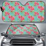 Artsyhomes [Car Sunshade] Bird Pink Floral Flower -4784