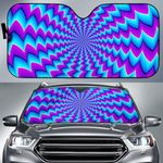 Artsyhomes [Car Sunshade] Blue Dizzy Moving Optical Illusion  -4778