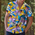 Artsyhomes [Hawaii Shirt] Hummingbird Plumeria Flowers T0907