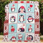 Theartsyhomes Chubby Penguin Christmas 3D Personalized Customized Quilt Blanket ESR49
