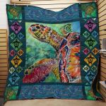 Theartsyhomes Colorful Turtle 3D Personalized Customized Quilt Blanket ESR45