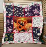 Theartsyhomes Flamingo Flower Love 3D Personalized Customized Quilt Blanket ESR18