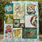 Theartsyhomes Cute Sloths 3D Personalized Customized Quilt Blanket ESR48