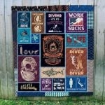Theartsyhomes Diver & Ocean Art 3D Personalized Customized Quilt Blanket ESR5