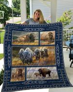 Theartsyhomes BISON 4 3D Personalized Customized Quilt Blanket ESR36