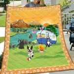 Theartsyhomes Boston Terrier Go Camping 3D Personalized Customized Quilt Blanket ESR21