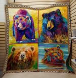Theartsyhomes Bear: Draw 3D Personalized Customized Quilt Blanket ESR33