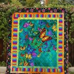 Theartsyhomes Floral Butterfly Dml-Qvk00040 3D Personalized Customized Quilt Blanket ESR37