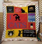 Theartsyhomes Cat make me happy 3D Personalized Customized Quilt Blanket ESR2