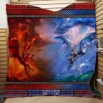 Theartsyhomes Dragon Washable Handmade 2611-01 3D Personalized Customized Quilt Blanket ESR40