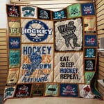 Theartsyhomes Eat. Sleep. Hockey. Repeat. 3D Personalized Customized Quilt Blanket ESR40