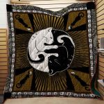 Theartsyhomes Black And White Silhouette Cats Yin Yang 3D Personalized Customized Quilt Blanket ESR45