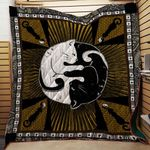 Theartsyhomes Black And White Silhouette Cats Yin Yang 3D Personalized Customized Quilt Blanket ESR46