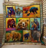 Theartsyhomes Bear V3 3D Personalized Customized Quilt Blanket ESR26