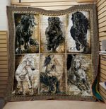Theartsyhomes Black and while horse 3D Personalized Customized Quilt Blanket ESR44