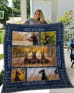 Theartsyhomes Doberman 3 3D Personalized Customized Quilt Blanket ESR14