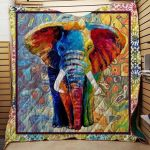Theartsyhomes Colorful Elephant Washable Handmade Cotton 3D Personalized Customized Quilt Blanket ESR34