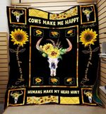 Theartsyhomes Cows skull sunflowers make me happy 3D Personalized Customized Quilt Blanket ESR22