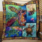 Theartsyhomes Colorful Sea Turtle Fabric 3D Personalized Customized Quilt Blanket ESR43