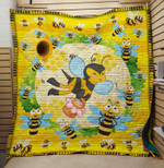 Theartsyhomes Family Bee Flower 3D Personalized Customized Quilt Blanket ESR13