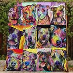 Theartsyhomes Colorful Pitbull 3D Personalized Customized Quilt Blanket ESR39