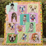 Theartsyhomes BullDog 3D Personalized Customized Quilt Blanket ESR24