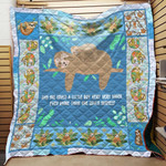 Theartsyhomes BLUE MAMA SLOTH 3D Personalized Customized Quilt Blanket ESR38