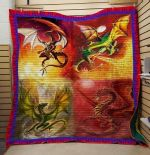 Theartsyhomes Dragon Fire 3D Personalized Customized Quilt Blanket ESR4