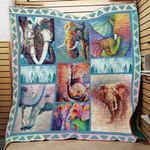 Theartsyhomes Elephan 9 3D Personalized Customized Quilt Blanket ESR41