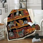 Theartsyhomes Books And Cats Life Is Good 3D Personalized Customized Quilt Blanket ESR14