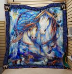 Theartsyhomes Blue horse 3D Personalized Customized Quilt Blanket ESR36