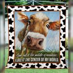 Theartsyhomes Cow The Center Of My World P132 3D Personalized Customized Quilt Blanket ESR17