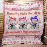 Theartsyhomes Elephant F2604 82o39 3D Personalized Customized Quilt Blanket ESR8